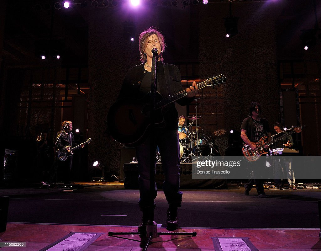 Singer/songwriter/guitarist John Rzeznik, drummer Mike Malinin and singer/songwriter/bass guitarist Robby Takac of the Goo Goo Dolls performs at the Couture Las Vegas Jewely Show at Wynn Las Vegas on June 2, 2011 in Las Vegas, Nevada.