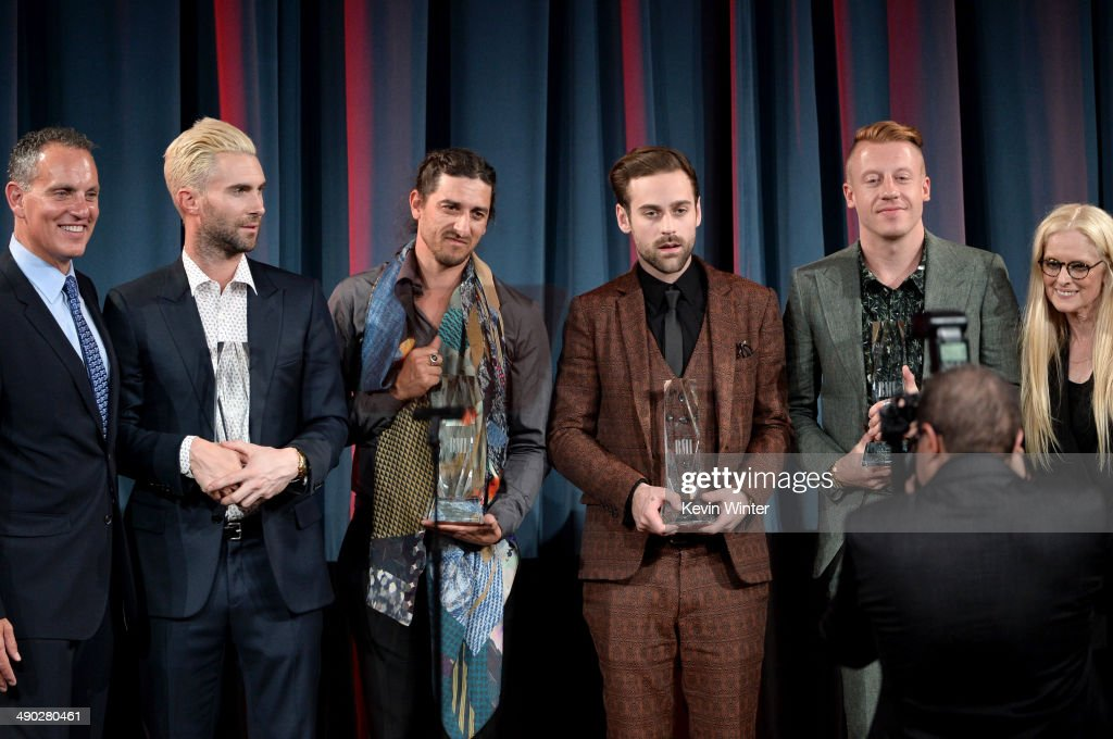 Singer-songwriters Adam Levine of Maroon 5, Jeff Bhasker, Ryan Lewis and Macklemore accept the 2014 BMI Songwriter of the Year Awards from Michael O'Neill, BMI CEO (L) and Barbara Cane, BMI VP & General Manager, Writer/Publisher Relations (far right) onstage at the 62nd annual BMI Pop Awards at the Regent Beverly Wilshire Hotel on May 13, 2014 in Beverly Hills, California.