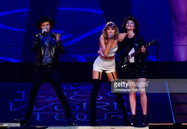 Singersongwriters Beck Taylor Swift and St Vincent perform onstage during Taylor Swift The 1989 World Tour Live In Los Angeles at Staples Center on...