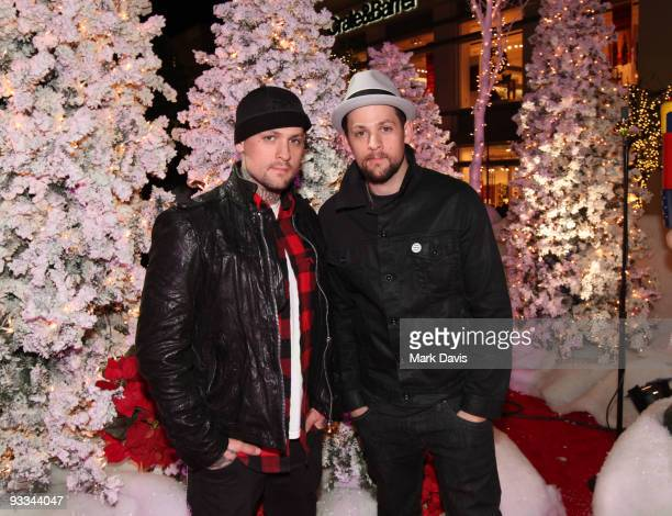 Singer/Songwriters Benji Madden and Joel Madden pose at The Groves Annual Tree Lighting Celebration and Concert held at The Grove on November 22 2009...