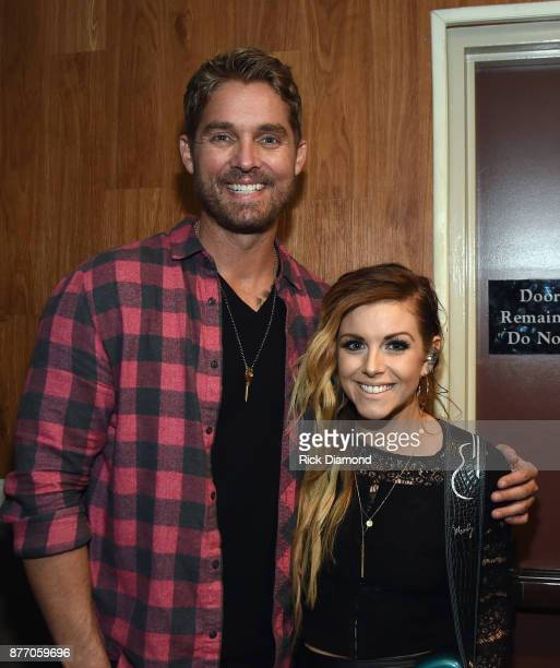 Singer/Songwriters Brett Young and Lindsay Ell backstage during 2017 Christmas 4 Kids Concert at Ryman Auditorium on November 20 2017 in Nashville...