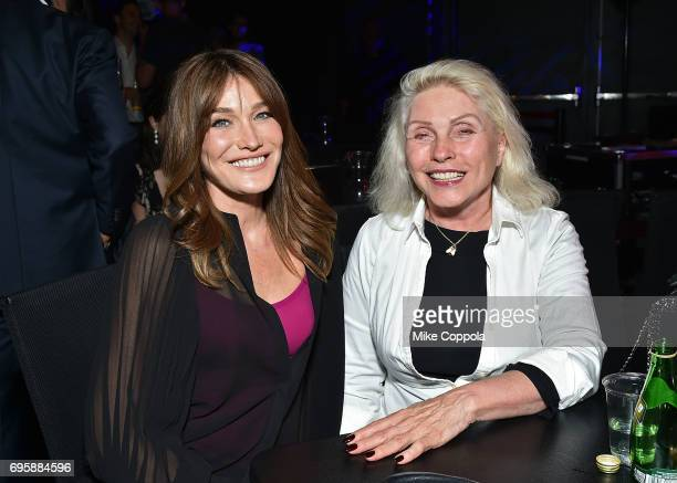 Singer/songwriters Carla Bruni and Debbie Harry pose for a picture During Carla's US Showcase on June 13 2017 in New York City