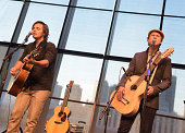 Singer/Songwriters Charlie Worsham and Matt Glassmeyer perform at the Country Music Hall of Fame Kenny Rogers Exhibit Opening Reception at the...