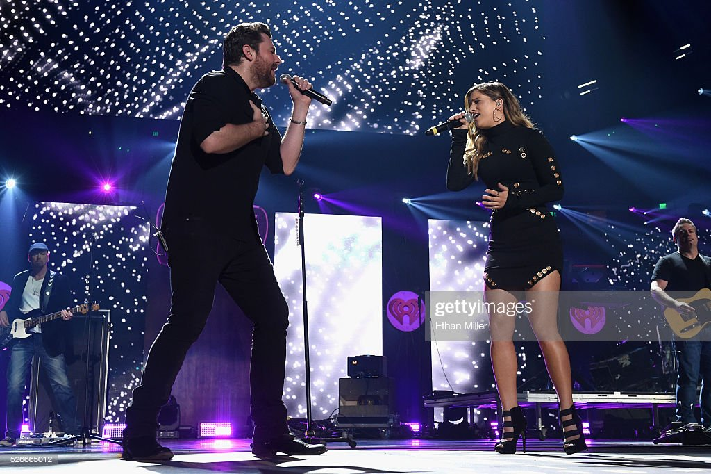 Singers Chris Young and Cassadee Pope perform onstage during the 2016 iHeartCountry Festival at The Frank Erwin Center on April 30, 2016 in Austin, Texas.