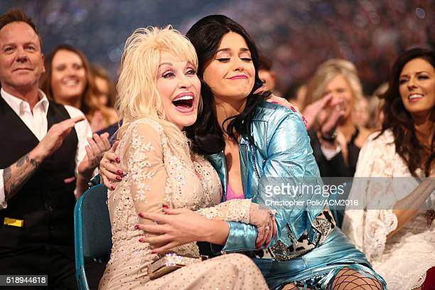 Singersongwriters Dolly Parton and Katy Perry attend the 51st Academy of Country Music Awards at MGM Grand Garden Arena on April 3 2016 in Las Vegas...