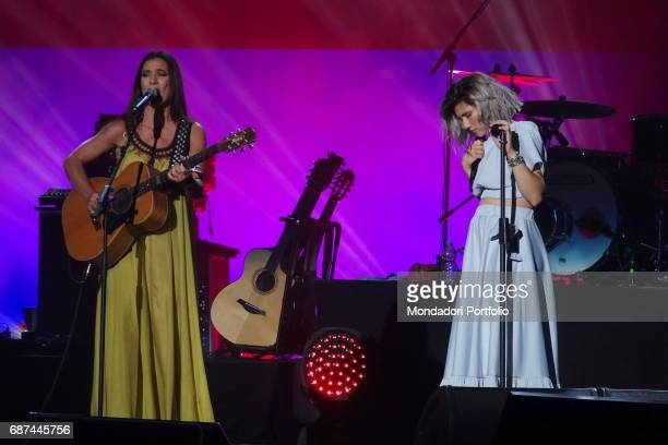Singersongwriters Elisa and Paola Turci performing during Amiche in Arena a concert against femicide and violence against women conceived by Loredana...