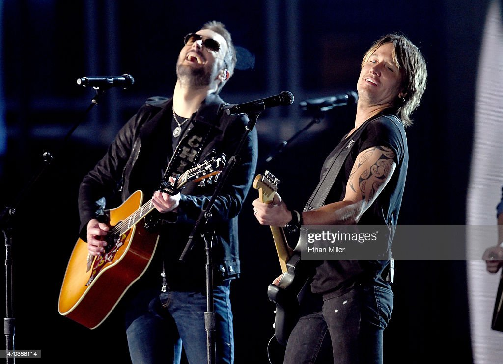 Singer/songwriters Eric Church and Keith Urban perform onstage during the 50th Academy of Country Music Awards at ATT Stadium on April 19 2015 in...