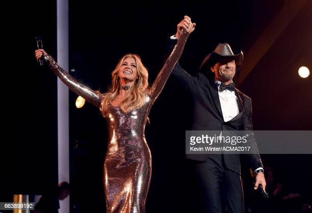 Singersongwriters Faith Hill and Tim McGraw perform onstage during the 52nd Academy of Country Music Awards at TMobile Arena on April 2 2017 in Las...