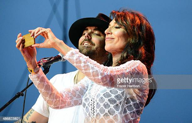 Singer/songwriters Franky Perez and Katey Sagal perform onstage during day 1 of 2014 Stagecoach California's Country Music Festival at the Empire...