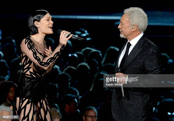 Singersongwriters Jessie J and Tom Jones perform onstage during The 57th Annual GRAMMY Awards at the STAPLES Center on February 8 2015 in Los Angeles...