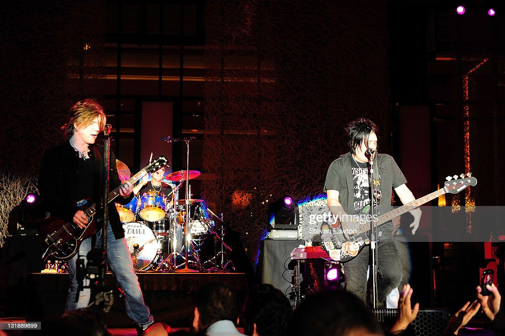 Singer/songwriters John Rzeznik (L) and Robby Takac of the Goo Goo Dolls perform at the Couture Las Vegas Jewely Show at Wynn Las Vegas on June 2, 2011 in Las Vegas, Nevada.