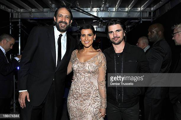 Singer/songwriters Juan Luis Guerra Nelly Furtado and Juanes appear backstage at the 13th annual Latin GRAMMY Awards held at the Mandalay Bay Events...