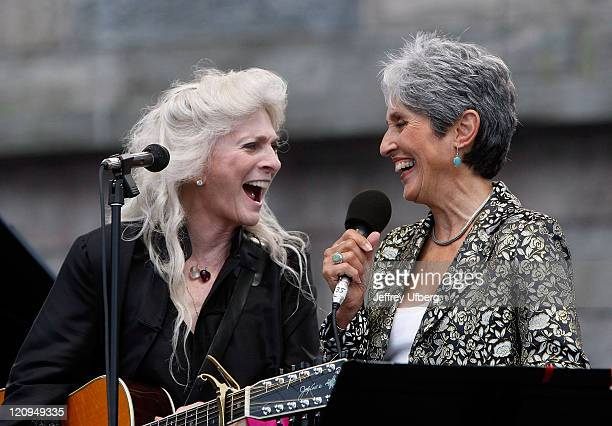 Singer/Songwriters Judy Collins and Joan Baez perform during day 2 of George Wein's Folk Festival 50 at Fort Adams State Park on August 2 2009 in...