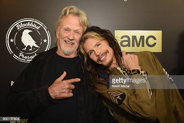 Singersongwriters Kris Kristofferson and Steven Tyler attend the Imagine John Lennon 75th Birthday Concert at The Theater at Madison Square Garden on...