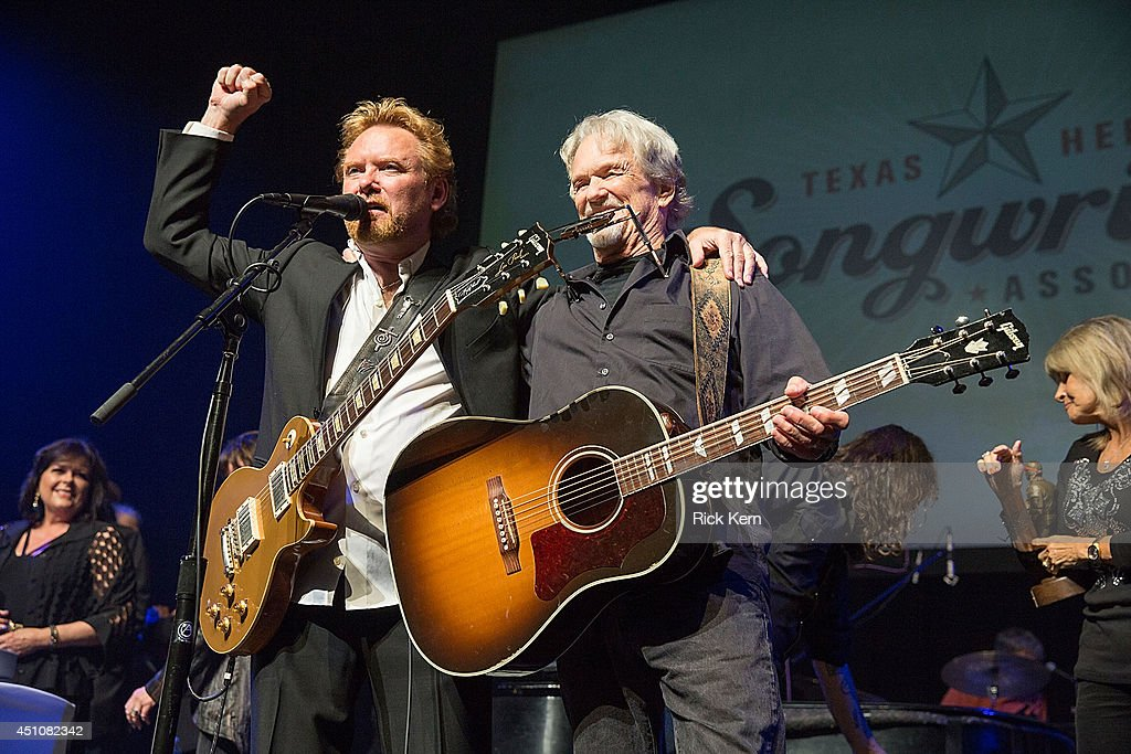 Singer-songwriters Lee Roy Parnell (L) and Kris Kristofferson perform on stage as part of the 9th Annual Texas Heritage Songwriters' Hall of Fame Awards Show at ACL Live on June 22, 2014 in Austin, Texas.