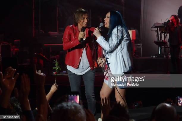 Singersongwriters Loredana BertŠ and Gianna Nannini performing during Amiche in Arena a concert against femicide and violence against women conceived...