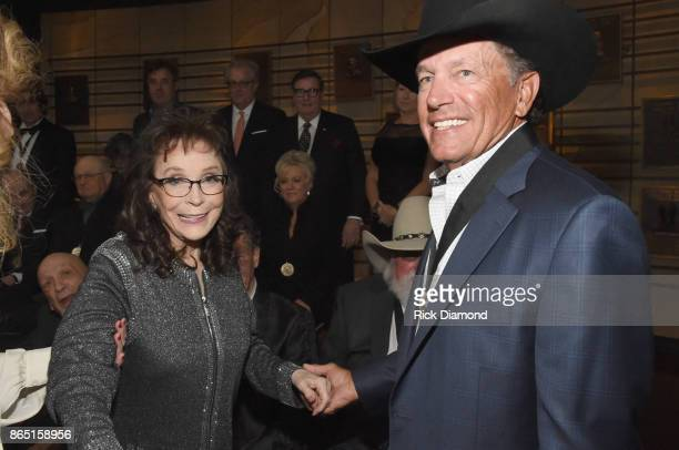 Singersongwriters Loretta Lynn and George Strait attend the Medallion Ceremony to celebrate 2017 hall of fame inductees Alan Jackson Jerry Reed And...