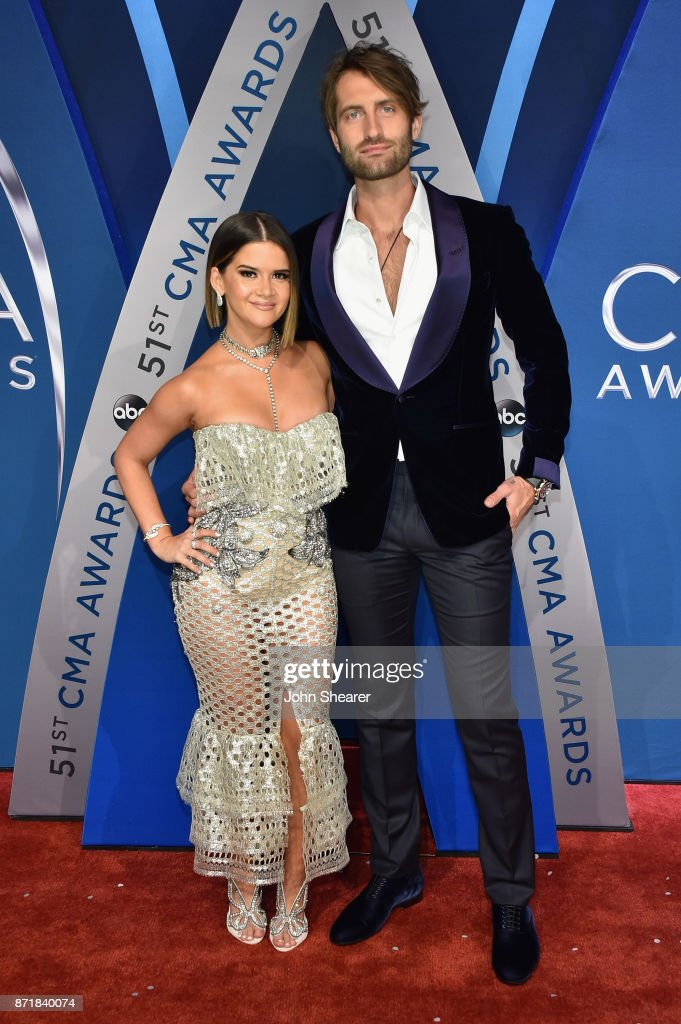 Singer-songwriters Maren Morris and Ryan Hurd attends the 51st annual CMA Awards at the Bridgestone Arena on November 8, 2017 in Nashville, Tennessee.