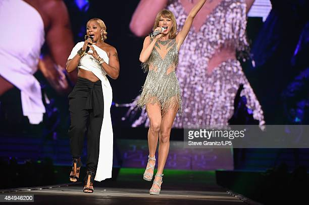 Singersongwriters Mary J Blige and Taylor Swift perform onstage during Taylor Swift The 1989 World Tour Live In Los Angeles at Staples Center on...