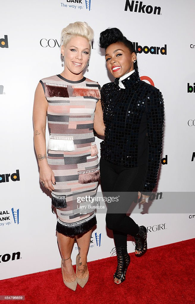 Singer-songwriters P!nk (L) and <a gi-track='captionPersonalityLinkClicked' href=/galleries/search?phrase=Janelle+Monae&family=editorial&specificpeople=715847 ng-click='$event.stopPropagation()'>Janelle Monae</a> attend Billboard's annual Women in Music event at Capitale on December 10, 2013 in New York City.