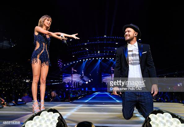 Singersongwriters Taylor Swift and Justin Timberlake perform onstage during Taylor Swift The 1989 World Tour Live In Los Angeles at Staples Center on...