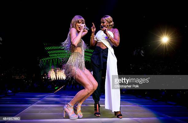 Singersongwriters Taylor Swift and Mary J Blige perform onstage during Taylor Swift The 1989 World Tour Live In Los Angeles at Staples Center on...