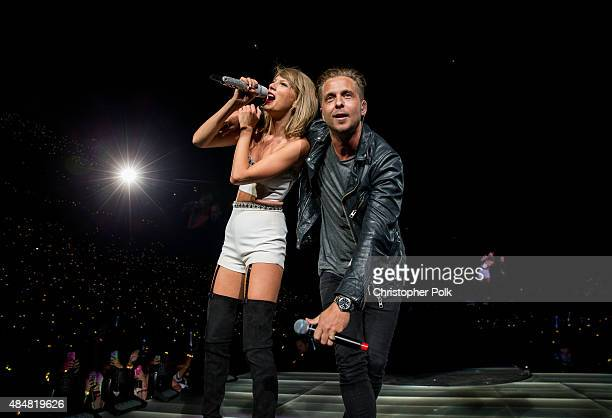 Singersongwriters Taylor Swift and Ryan Tedder perform onstage during The 1989 World Tour Live In Los Angeles at Staples Center on August 21 2015 in...