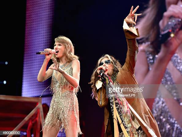 Singer/songwriters Taylor Swift and Steven Tyler perform onstage during The 1989 World Tour live in Nashville at Bridgestone Arena on September 25...