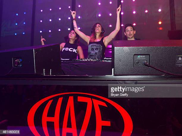 Singer/songwriters Yasmine Yousaf Jahan Yousaf and producer Kris 'Rain Man' Trindl of Krewella perform onstage at a private party celebrating CES...