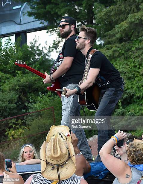 Singer/Songwriters Zach Swon and Colton Swon The Swon Brothers perform at Country Thunder USA Day 3 In Twin Lakes Wisconsin on July 25 2015 in Twin...