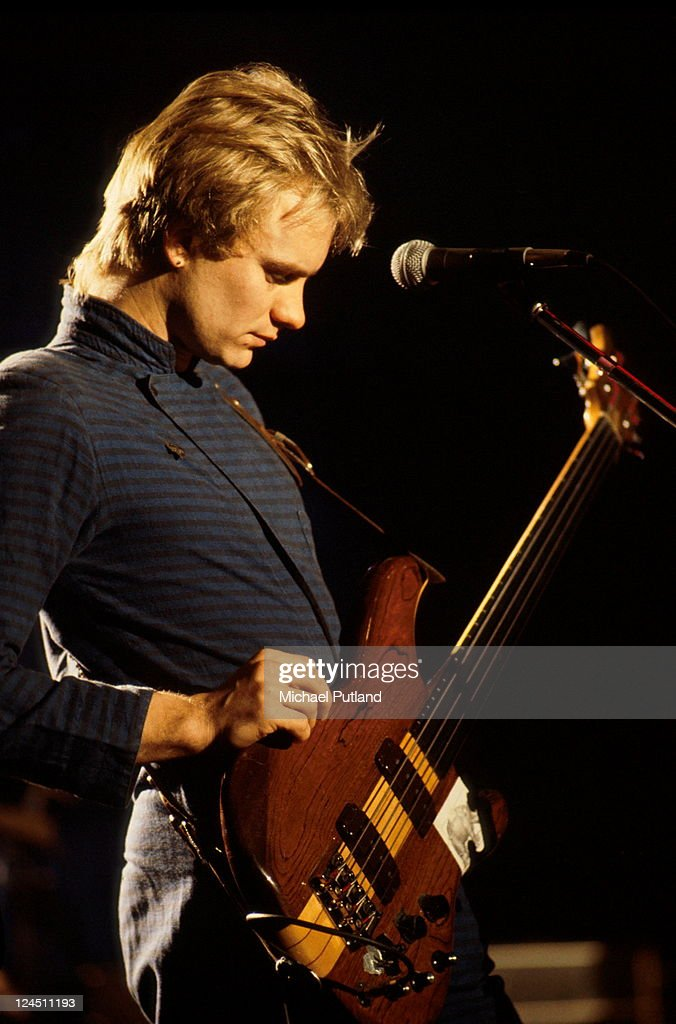 Singer-songwritrer and bass guitarist, <a gi-track='captionPersonalityLinkClicked' href=/galleries/search?phrase=Sting+-+Singer&family=editorial&specificpeople=220192 ng-click='$event.stopPropagation()'>Sting</a>, performing with English new wave group, The Police, on the 'Don Kirshner's Rock Concert' TV show, Los Angeles, 6th February 1980.