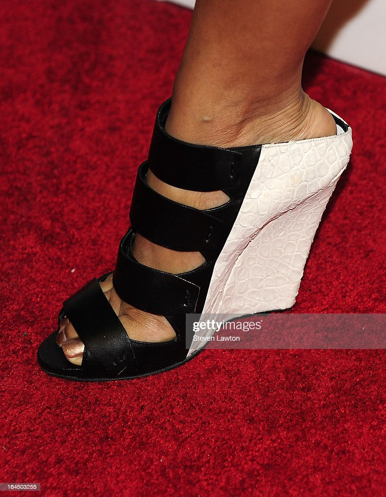 Singer/sonwgriter <a gi-track='captionPersonalityLinkClicked' href=/galleries/search?phrase=Keri+Hilson&family=editorial&specificpeople=4340776 ng-click='$event.stopPropagation()'>Keri Hilson</a> (shoe detail) arrives at the Pure Nightclub at Caesars Palace on March 23, 2013 in Las Vegas, Nevada.
