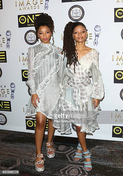 Singers/Sisters Chloe Bailey and Halle Bailey of the girl group Chloe x Halle attend the 48th NAACP Image Awards Nominees' luncheon at Loews...