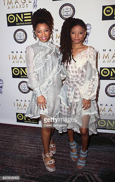 Singers/sisters of Chloe x Halle Chloe Bailey and Halle Bailey attend the 48th NAACP Image Awards Nominees' Luncheon at Loews Hollywood Hotel on...