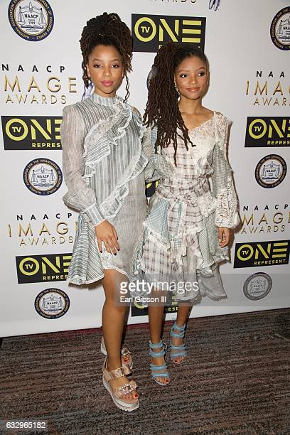 Singers/sisters of Chloe x Halle Chloe Bailey and Halle Bailey attend the 48th NAACP Image Awards Nominees Luncheon at Loews Hollywood Hotel on...