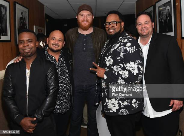Singers/Songwriters All4One and Eric Paslay backstage during NSAI 50 Years of Songs at Ryman Auditorium on September 20 2017 in Nashville Tennessee