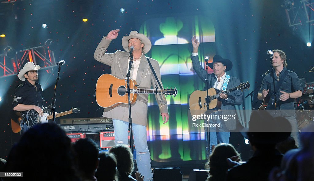 Singers/Songwriters Brad Paisley, Alan Jackson, George Strait and Dierks Bentley at the Taping of CMT 'GIANTS' Honoring Alan Jackson at The Ryman Auditorium on October 30, 2008 in Nashville, Tennessee. CMT 'GIANTS' airs December 6, 2008 at 9pm ET only on CMT.