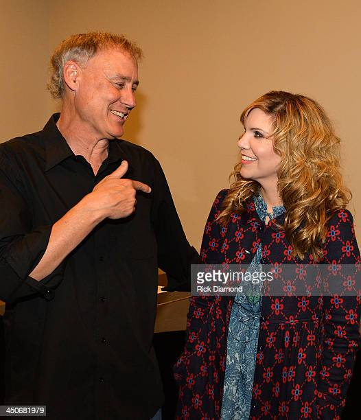 Singers/Songwriters Bruce Hornsby and Alison Krauss backstage after Ricky Skaggs Day 2 Bluegrass Rules at the CMA Theater on November 19 2013 in...