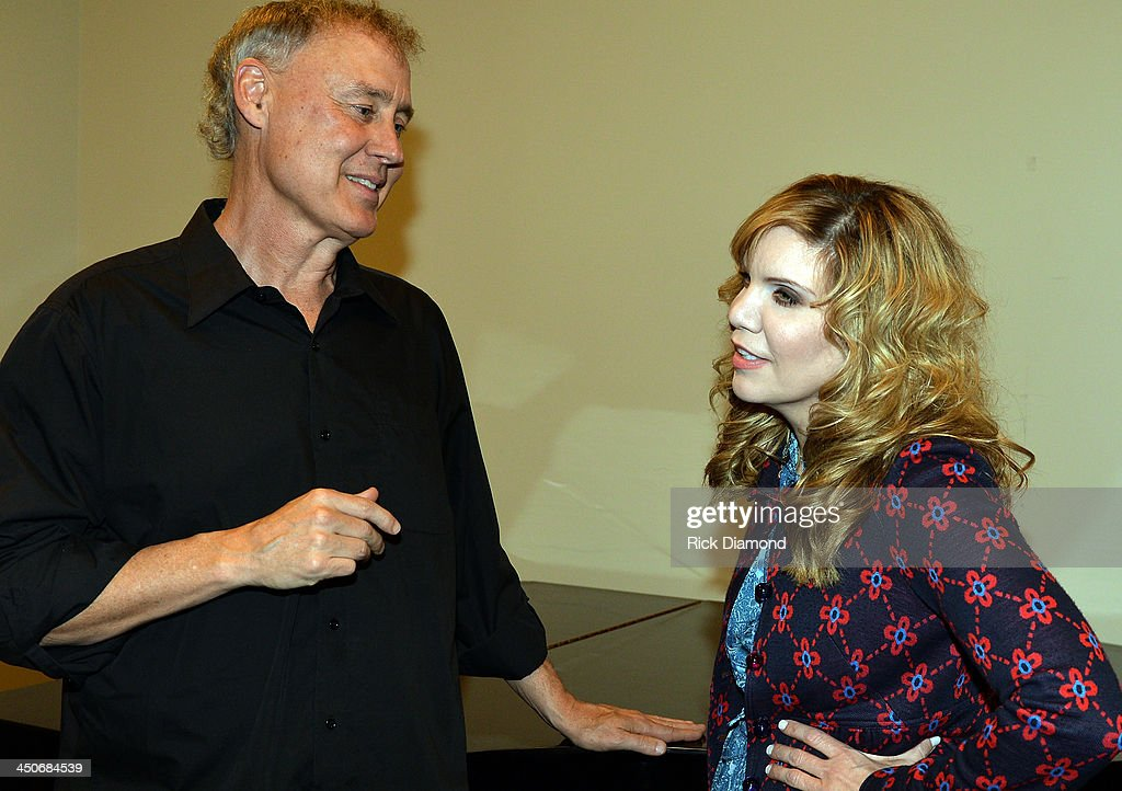 Singers/Songwriters Bruce Hornsby and Alison Krauss backstage after Ricky Skaggs Day 2 - Bluegrass Rules at the CMA Theater on November 19, 2013 in Nashville, Tennessee. Skaggs was recently announced as the Country Music Hall of Fame and Museum's 2013 Artist-in-Residence.