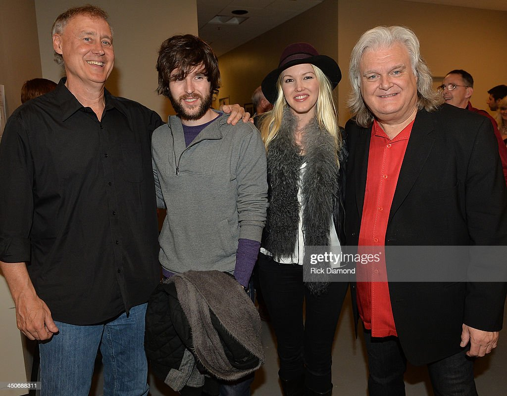 Singers/Songwriters Bruce Horsby,Shannon Campbell, Ashley Campbell Son and Daughter of Recording Artist Glen Campbell and Ricky Skaggs backstage after Ricky Skaggs - Day 2 Bluegrass Rules at the CMA Theater on November 19, 2013 in Nashville, Tennessee. Skaggs was recently announced as the Country Music Hall of Fame and Museum's 2013 Artist-in-Residence.