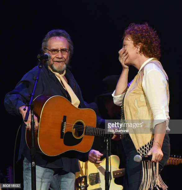 Singers/Songwriters David Frizzell and Shelly West perform during NSAI 50 Years of Songs at Ryman Auditorium on September 20 2017 in Nashville...