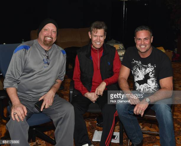 Singers/Songwriters Eddie Montgomery and Troy Gentry with Randy Travis attend rehearsais for 1 Night 1 Place 1 Time A Heroes Friends Tribute to Randy...