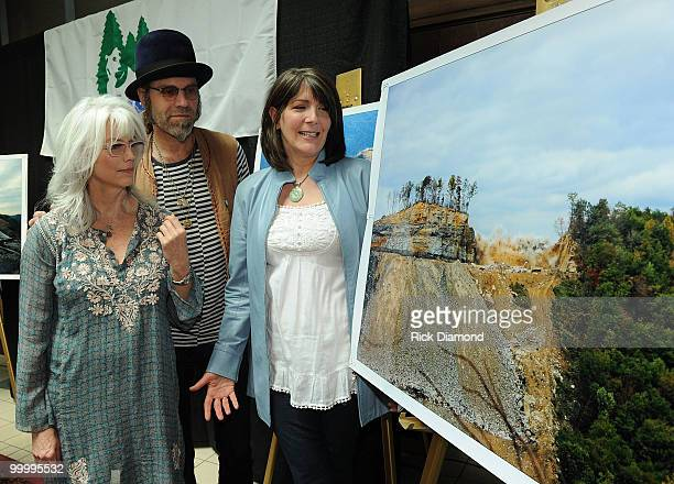Singers/Songwriters Emmylou Harris Big Kenny Alphin and Kathy Mattea during the 'Music Saves Mountains' benefit concert press conference at the Ryman...