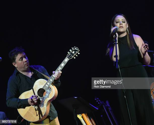 Singers/Songwriters Gordie Sampson and Hillary Lindsey performs during NSAI 50 Years of Songs at Ryman Auditorium on September 20 2017 in Nashville...