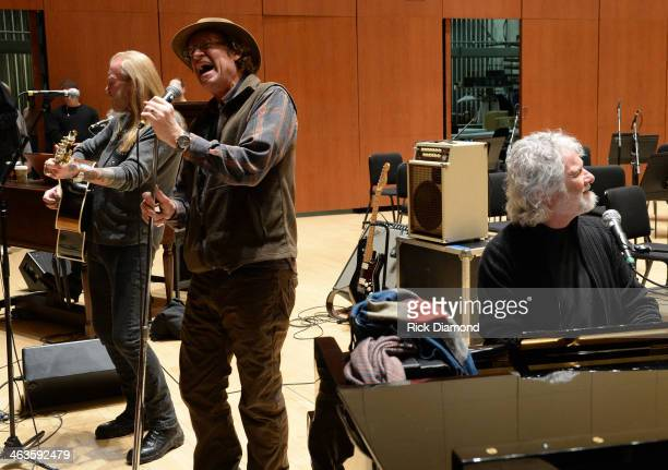 Singers/Songwriters Gregg Allman Jimmy Hall and Chuck Leavell at rehearsals for 'Celebrating Georgia With Chuck Leavell Friends' at Atlanta Symphony...