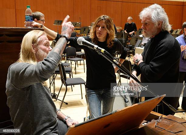 Singers/Songwriters Gregg Allman Michelle Malone and Chuck Leavell during rehearsals for 'Celebrating Georgia With Chuck Leavell Friends' at Atlanta...