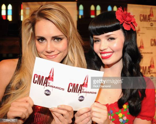 Singers/Songwriters JaneDear Girls L/R Danelle Leverett and Susie Brown help announce The 2011 CMA Awards nominations held at the Ryman Auditorium on...