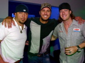 Singers/Songwriters Jason Aldean Luke Bryan and Tyler Hubbard and Dallas Davidson backstage during Peach Pickers Friends Host A Night of Georgia...