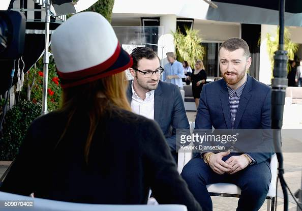 Singers/songwriters Jimmy Napes and Sam Smith attend the 88th Annual Academy Awards nominee luncheon on February 8 2016 in Beverly Hills California