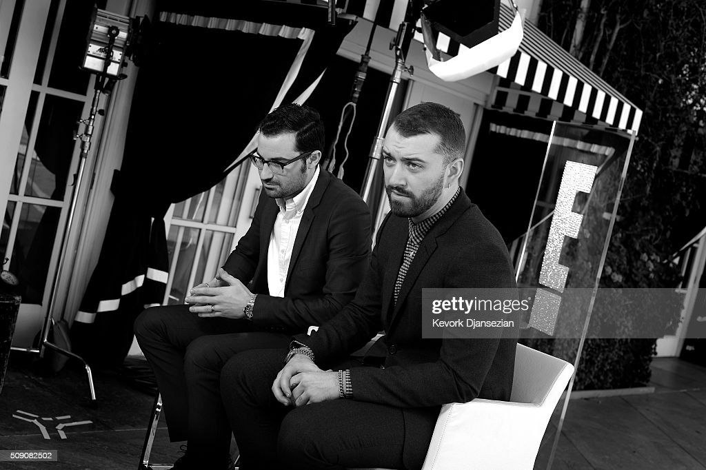 Singers/songwriters Jimmy Napes (L) and Sam Smith attend the 88th Annual Academy Awards nominee luncheon on February 8, 2016 in Beverly Hills, California.
